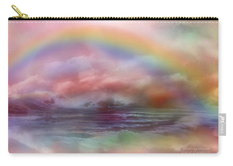 Ocean Art Carry-all Pouch featuring the mixed media Healing Ocean by Carol Cavalaris