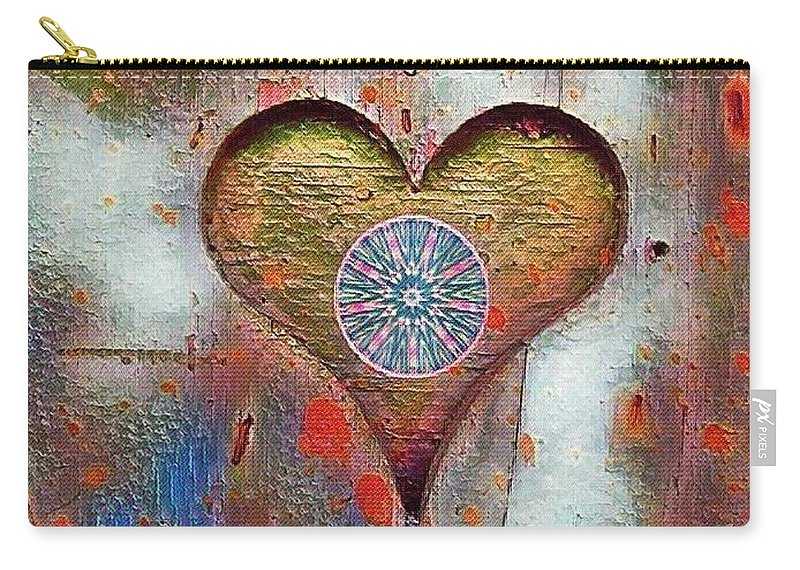 Mandala Carry-all Pouch featuring the mixed media Healing The Heart by Mariana Willard