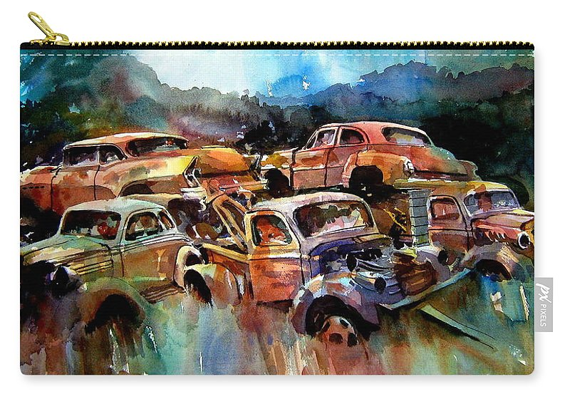 Cars Carry-all Pouch featuring the painting Heaped Wrecks by Ron Morrison