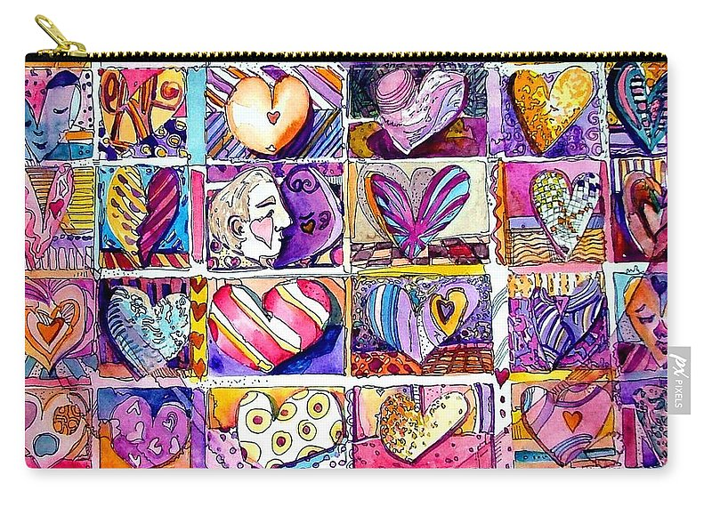 Love Carry-all Pouch featuring the painting Heart 2 Heart by Mindy Newman