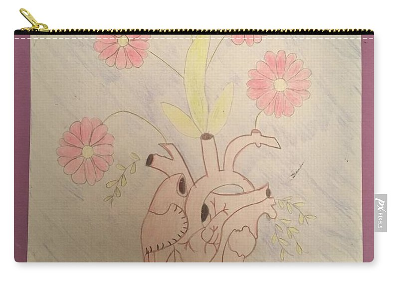 Heart Carry-all Pouch featuring the drawing Heart by Catherine Poag