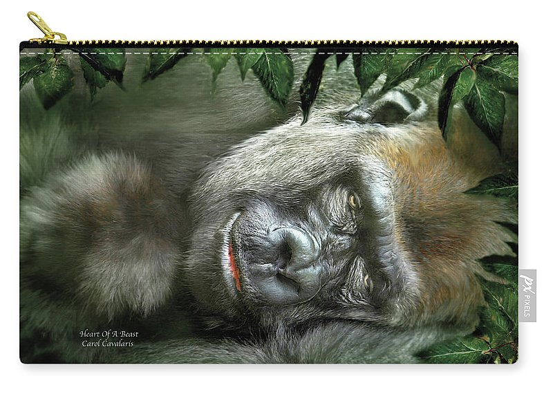 Gorilla Carry-all Pouch featuring the mixed media Heart Of A Beast by Carol Cavalaris