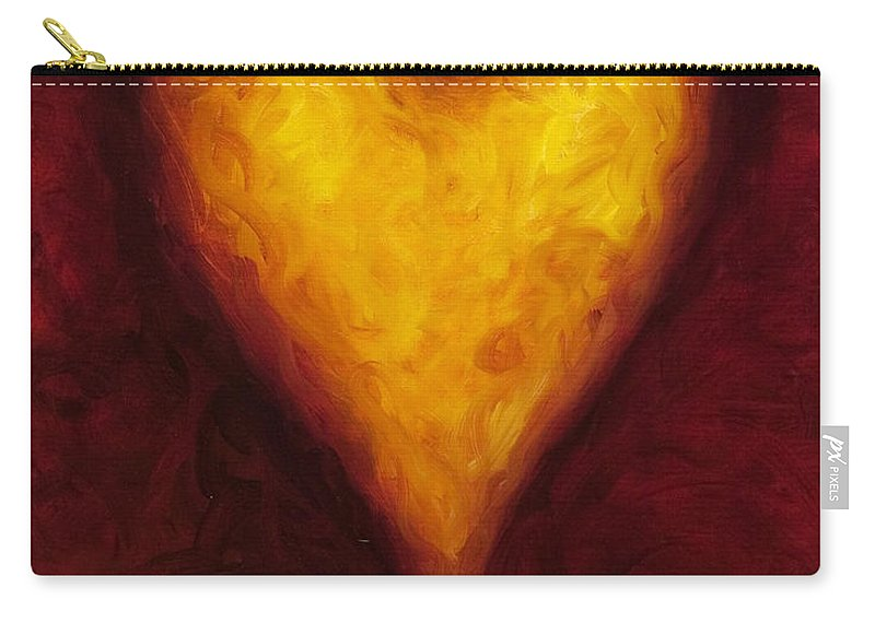 Heart Carry-all Pouch featuring the painting Heart of Gold 1 by Shannon Grissom