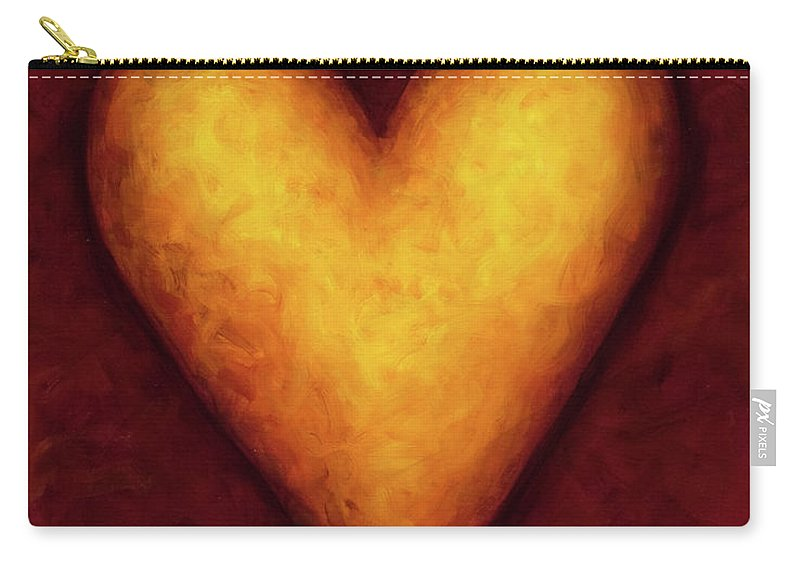 Heart Carry-all Pouch featuring the painting Heart of Gold 4 by Shannon Grissom