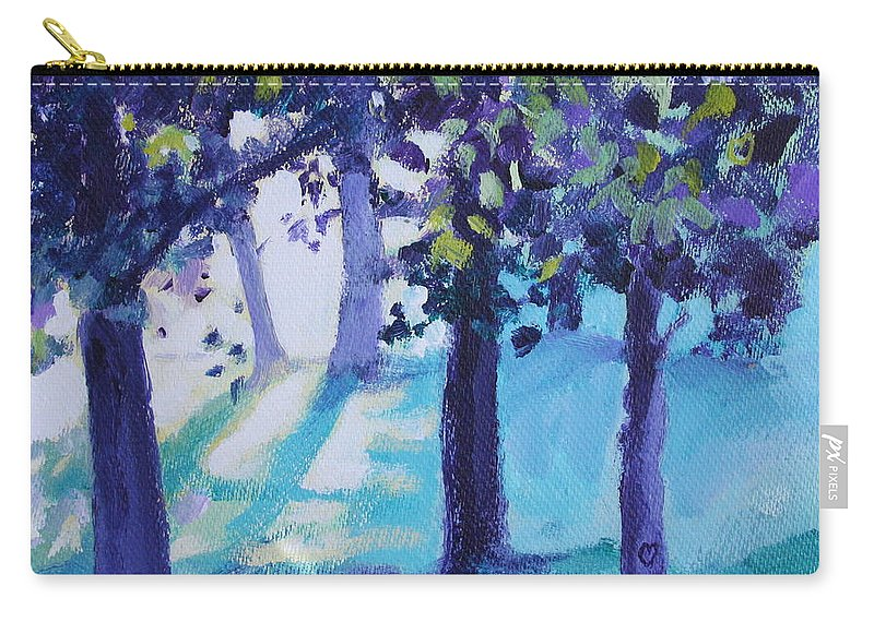 Expressionist Carry-all Pouch featuring the painting Heart Of The Forest by Jan Bennicoff