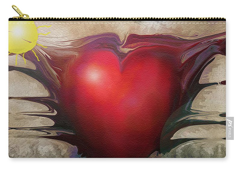 Abstracts Carry-all Pouch featuring the digital art Heart Of The Sunrise by Linda Sannuti