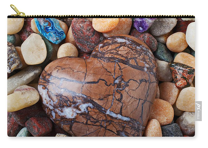 Heart Hearts Carry-all Pouch featuring the photograph Heart Stone Among River Stones by Garry Gay