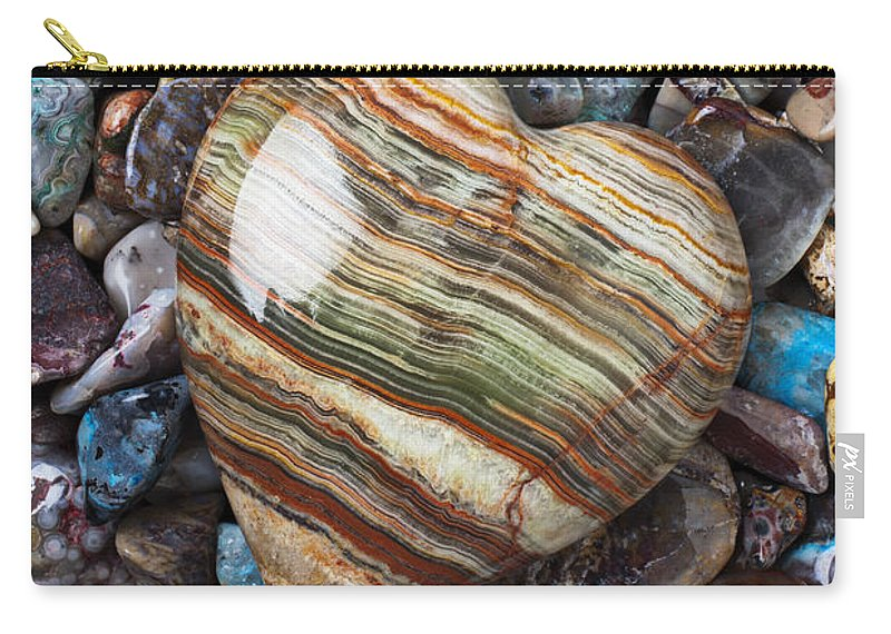 Stone Carry-all Pouch featuring the photograph Heart Stone by Garry Gay