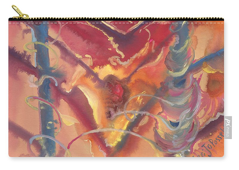 Heart Unveiled Carry-all Pouch featuring the painting Heart Unveiled by Sheri Jo Posselt