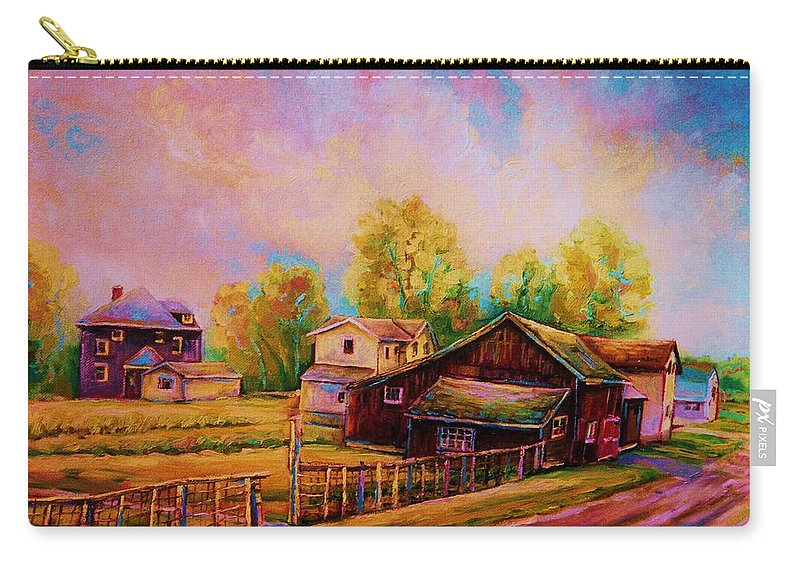 Landscape Carry-all Pouch featuring the painting Hearth And Home by Carole Spandau
