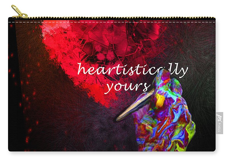 Valentine Carry-all Pouch featuring the painting Heartistically Yours by Miki De Goodaboom