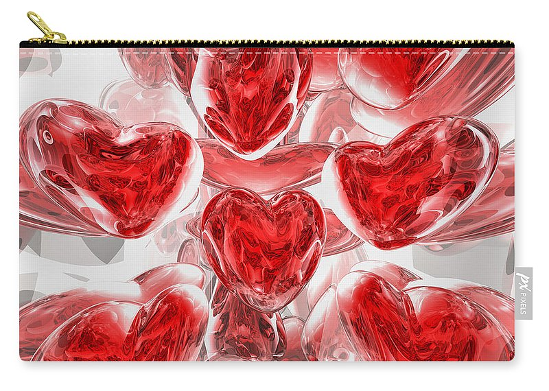3d Carry-all Pouch featuring the digital art Hearts Afire Abstract by Alexander Butler
