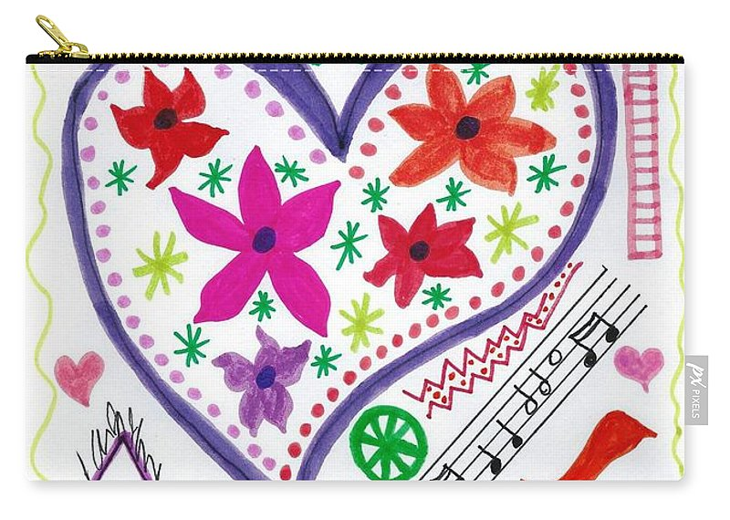 Doodle Art Carry-all Pouch featuring the drawing Hearts And Flowers by Susan Schanerman