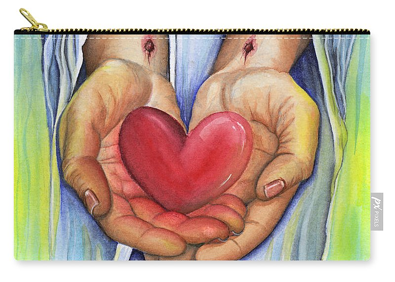 Jesus Carry-all Pouch featuring the painting Heart's Desire by Nancy Cupp