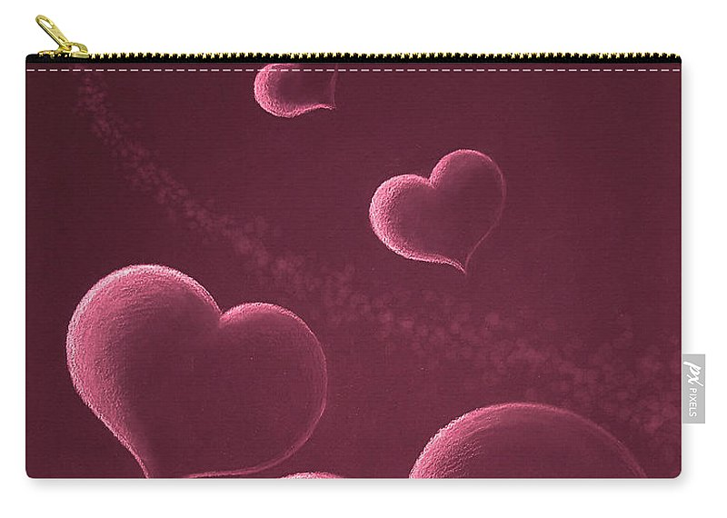 Hearts Carry-all Pouch featuring the drawing Hearts In Space Red by Yoonhee Ko