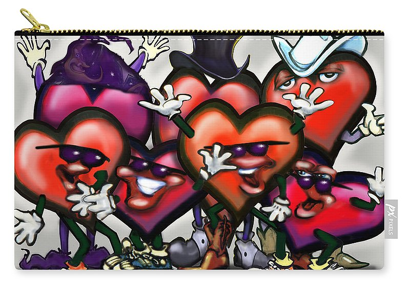 Heart Carry-all Pouch featuring the digital art Hearts Party by Kevin Middleton