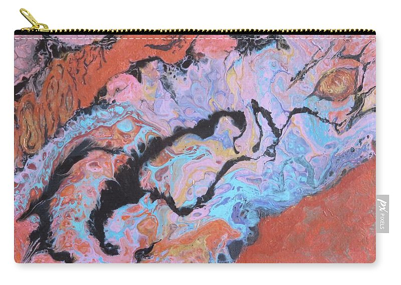 Abstract Carry-all Pouch featuring the painting Heat by Nili Tochner