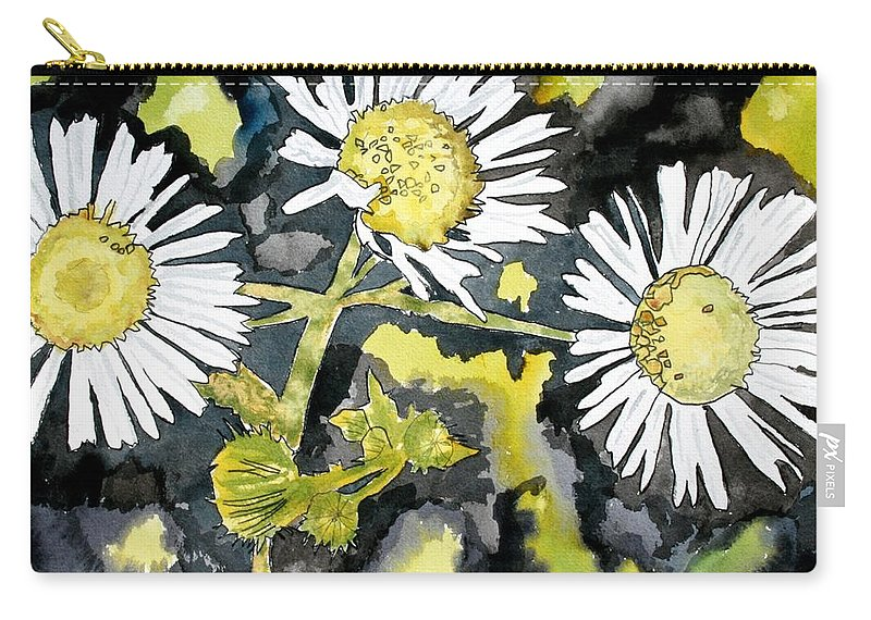 Wildflower Carry-all Pouch featuring the painting Heath Aster Flower Art Print by Derek Mccrea