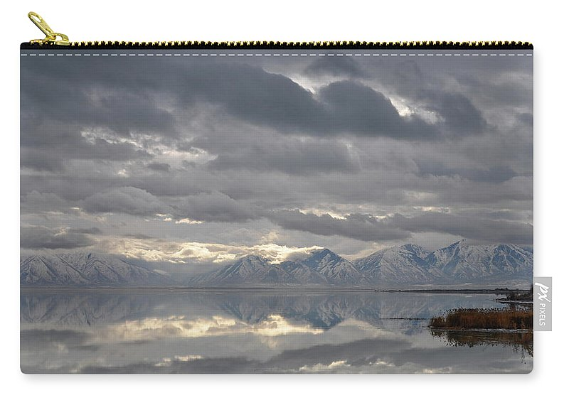Utah Lake Carry-all Pouch featuring the photograph Heaven Meets Earth by Kat Cortez