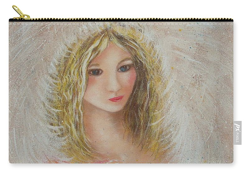 Angel Carry-all Pouch featuring the painting Heavenly Angel by Natalie Holland