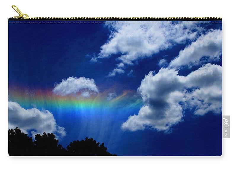 Heavens Rainbow Carry-all Pouch featuring the photograph Heavens Rainbow by Linda Sannuti
