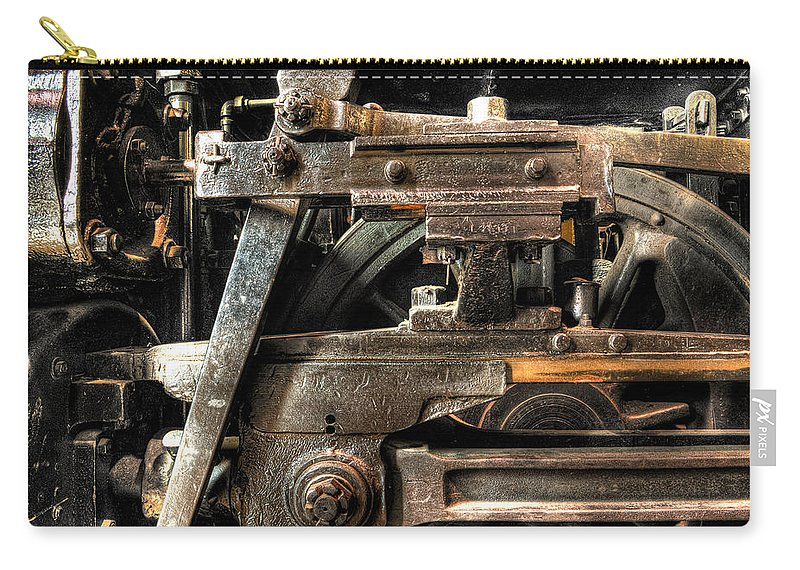 Train Carry-all Pouch featuring the photograph Heavy Wheel by Scott Wyatt