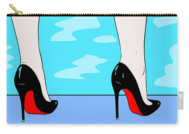 Heels Carry-all Pouch featuring the drawing Heels By The Pool by Giuseppe Cristiano