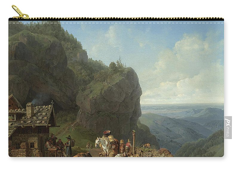 Heinrich Bürkel 1802 - 1869 German Wirtshaus Auf Der Alm Mit Carry-all Pouch featuring the painting Heinrich Burkel 1802 - 1869 German Wirtshaus Auf Der Alm Mit Alpzug Tavern In The Alps by Adam Asar