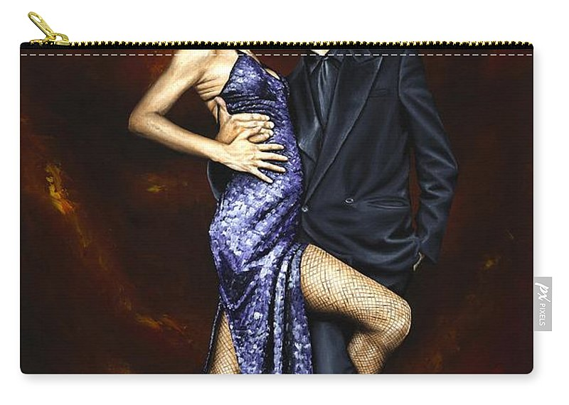 Tango Dancers Love Passion Female Male Woman Man Dance Carry-all Pouch featuring the painting Held In Tango by Richard Young