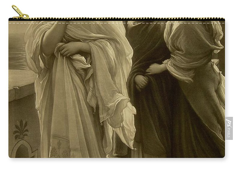 Female; Mythological; Legend; Helena; Trojan;homer; Iliad; Beauty; Necklace; Jewellery; Jewelry; Beautiful; Legendary; Portrait; Full Length; Romantic; Monochrome; Pre-raphaelite Carry-all Pouch featuring the drawing Helen Of Troy by Frederic Leighton