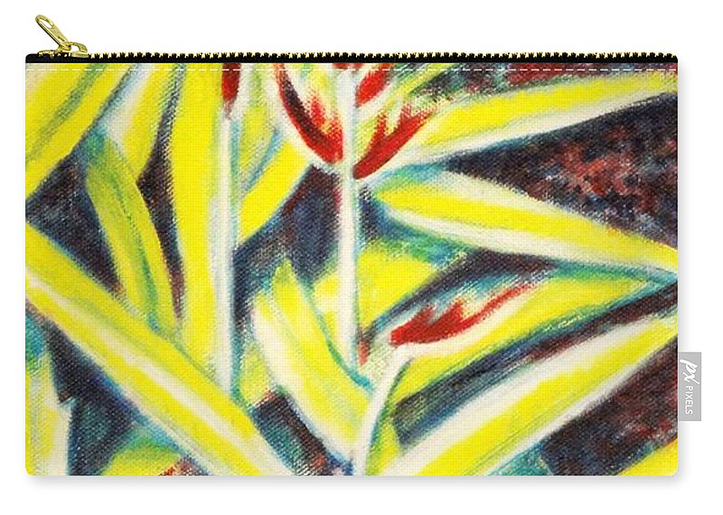Heliconia Carry-all Pouch featuring the painting Heliconia 2 by Usha Shantharam