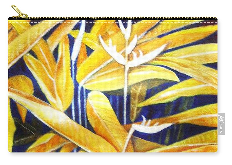 Heliconia Carry-all Pouch featuring the painting Heliconia by Usha Shantharam
