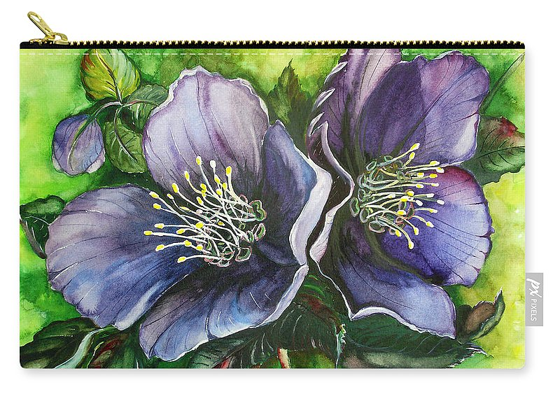 Flower Painting Botanical Painting Original W/c Painting Helleborous Painting Carry-all Pouch featuring the painting Helleborous Blue Lady by Karin Dawn Kelshall- Best