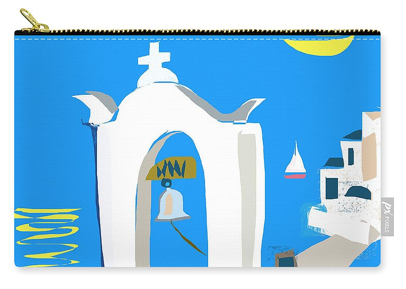 Greek Islands Carry-all Pouch featuring the digital art Hellenic Holiday by Anthony Robinson