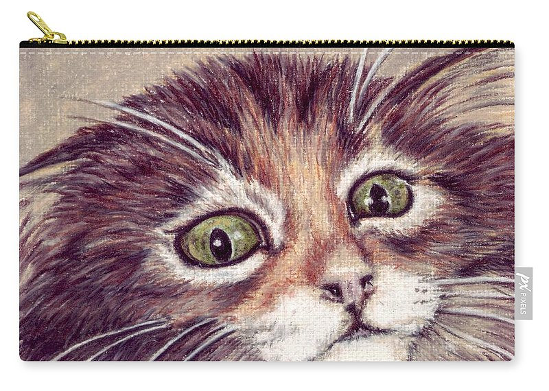 Cat Carry-all Pouch featuring the drawing Hello Clarice by Kristen Wesch