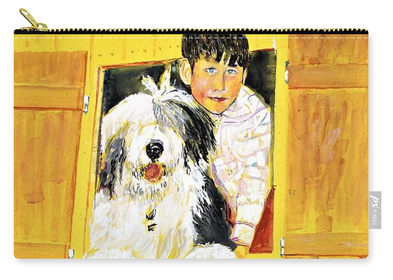 Dog Carry-all Pouch featuring the painting Hello Friends, We Are Here by Khalid Saeed
