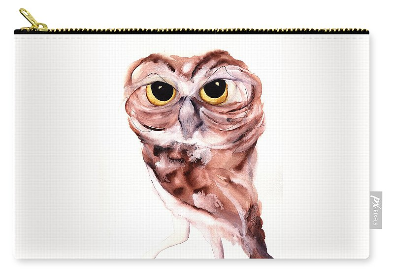 Owl Carry-all Pouch featuring the painting Hello There by Dawn Derman