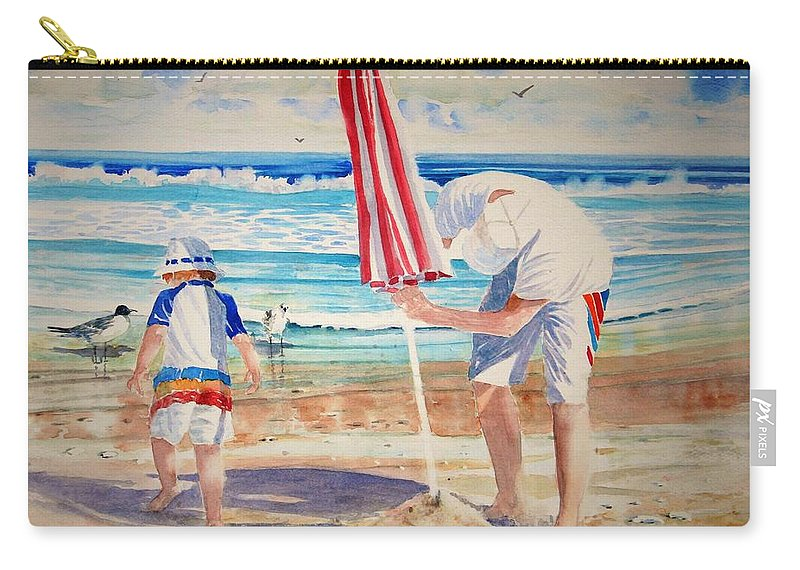 Beach Carry-all Pouch featuring the painting Helping Dad Set Up The Camp by Tom Harris
