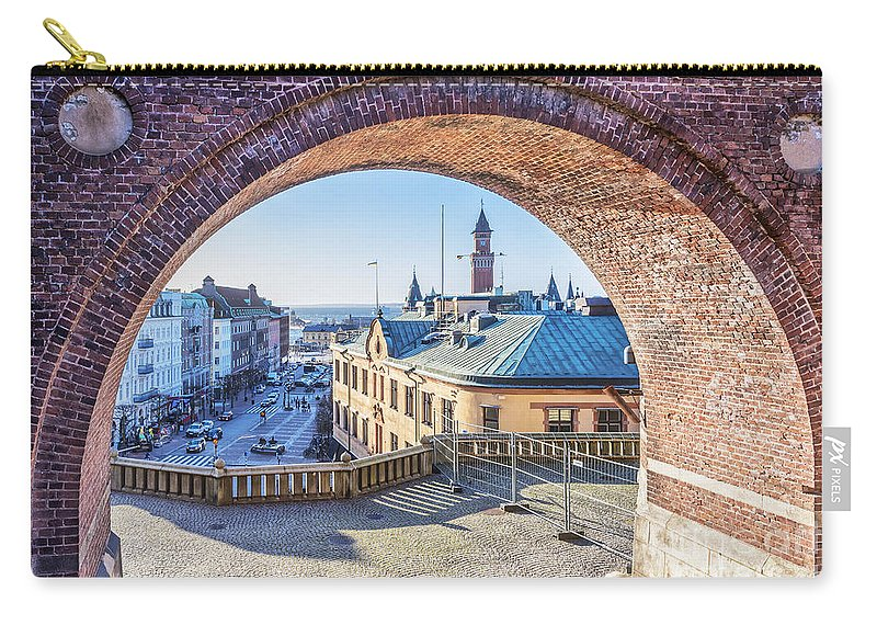 Skane Carry-all Pouch featuring the photograph Helsingborg Through The Archway by Antony McAulay