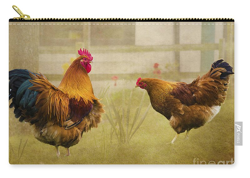 Cockerel Carry-all Pouch featuring the photograph Hen Party Dancin The Night Away by Linsey Williams
