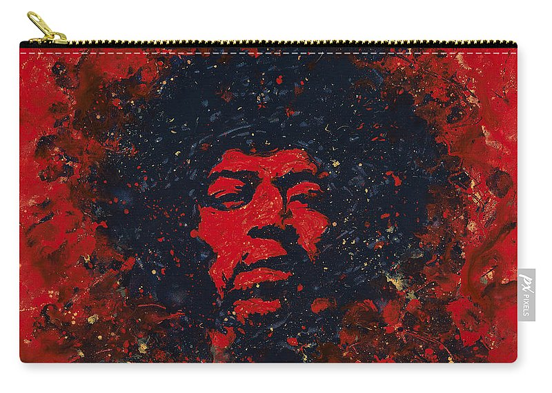 Jimi Hendrix Carry-all Pouch featuring the painting Hendrix by Chris Mackie