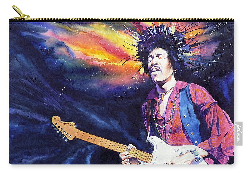 Jimi Hendrix Carry-all Pouch featuring the painting Hendrix by Ken Meyer jr