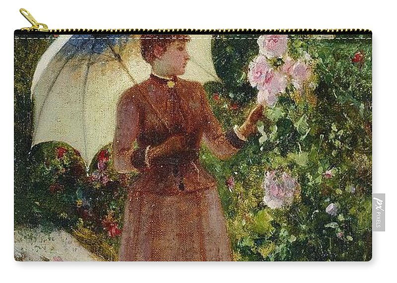 Henri Emile De Sachy France 19th Century Elegant Young Lady In The Garden Walk At Hollyhocks Carry-all Pouch featuring the painting Henri Emile De Sachy France 19th Century Elegant Young Lady In The Garden Walk At Hollyhocks by Adam Asar