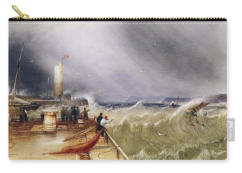 Henry Barlow Carter (1795-1867) Loss Of The Scarborough Lifeboat 24 May 1836 Carry-all Pouch featuring the painting Henry Barlow Carter 1795-1867 Loss Of The Scarborough Lifeboat 24 May 1836 by Adam Asar