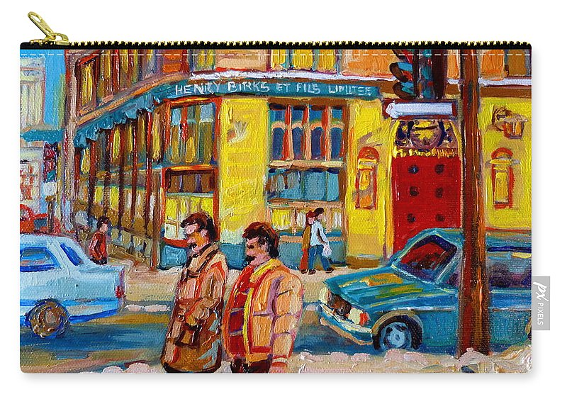 Downtown Montreal Carry-all Pouch featuring the painting Henry Birks On St Catherine Street by Carole Spandau