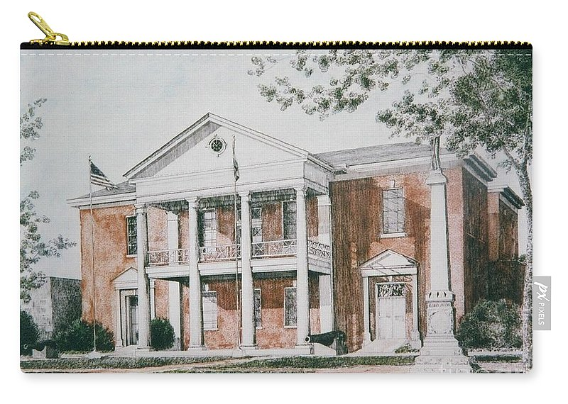 Custom Art Pen And Ink And Watercolor Carry-all Pouch featuring the painting Henry County Courthouse by Maggie Clark