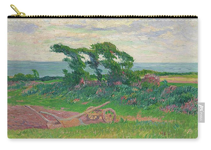 Henry Moret 1856 - 1913 The Plough Carry-all Pouch featuring the painting Henry Moret 1856 - 1913 The Plough by Adam Asar