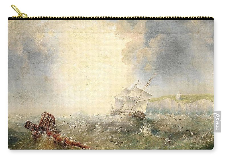 Henry Redmore Running Up The Coast In Heavy Seas Carry-all Pouch featuring the painting Henry Redmore Running Up The Coast In Heavy Seas, 1856 by Adam Asar