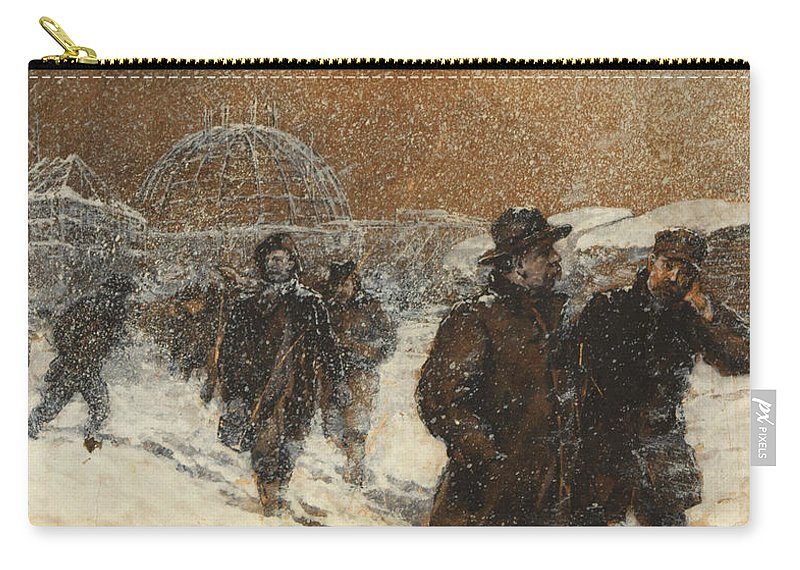Henry Sandham Carry-all Pouch featuring the painting Walking Through The Snow by Henry Sandham