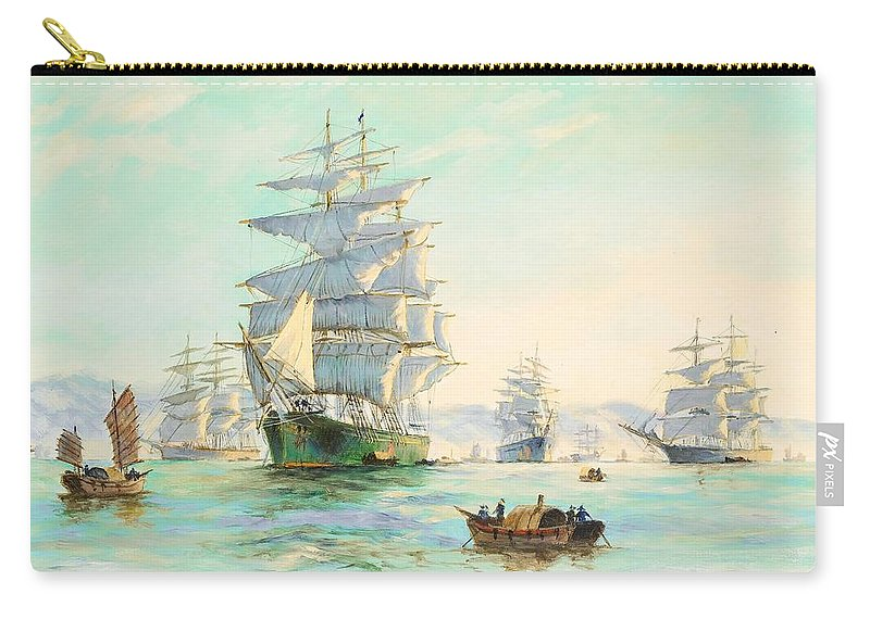 Henry Scott Carry-all Pouch featuring the painting Tranquil Morning - Foochow, The Famous Clipper Thermopylae At Anchor by Henry Scott